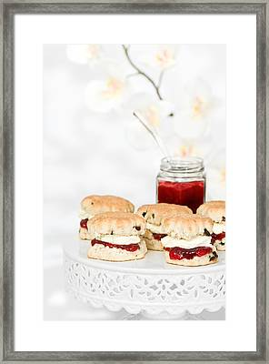 Scones With Cream And Jam Framed Print by Amanda Elwell