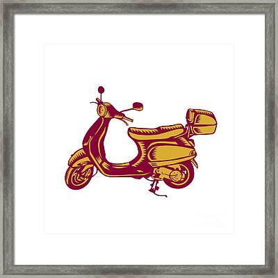 Scooter Bike Side Vintage Woodcut Framed Print by Aloysius Patrimonio