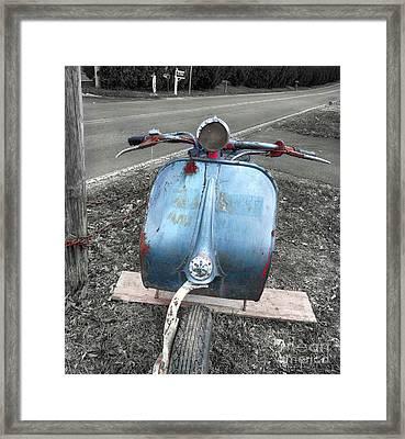 Scooter In Elderly Blue  Framed Print