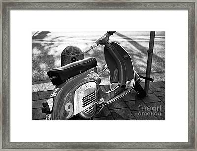 Scooter In Hamburg Mono Framed Print
