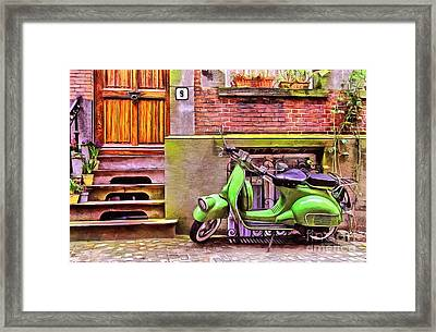 Framed Print featuring the painting Scooter Parking Only by Edward Fielding
