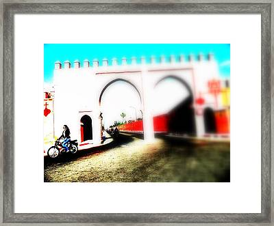 Scootering Through A Medina Gate  Framed Print by Funkpix Photo Hunter