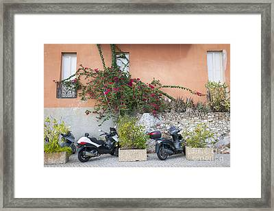 Scooters On Street In Villefranche-sur-mer Framed Print by Elena Elisseeva