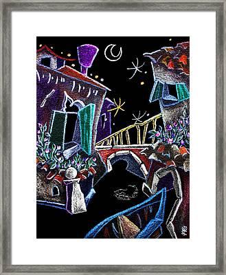 Scorcio Veneziano - Venise Art Dessin - Dibujo Canal De Venecia Framed Print by Arte Venezia