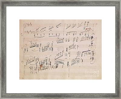Score Sheet Of Moonlight Sonata Framed Print by Ludwig van Beethoven