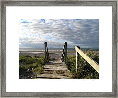 Scotland Findhorn Boardwalk Framed Print by Yvonne Ayoub