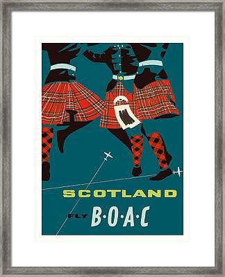 Scotland Scottish Highland Dancers Boac Vintage Airline Travel Poster Framed Print by Retro Graphics