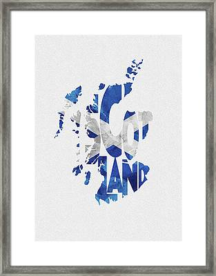 Scotland Typographic Map Flag Framed Print