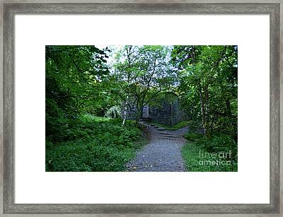 Scotland's Dunstaffnage Chapel Ruins In The Woods Framed Print by DejaVu Designs