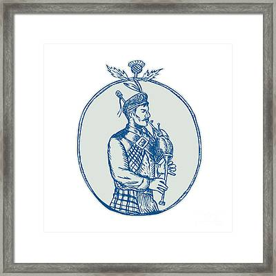 Scotsman Bagpiper Playing Bagpipes Etching Framed Print