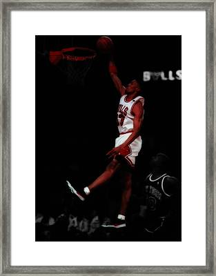 Scottie Pippen Above The Rim Framed Print by Brian Reaves