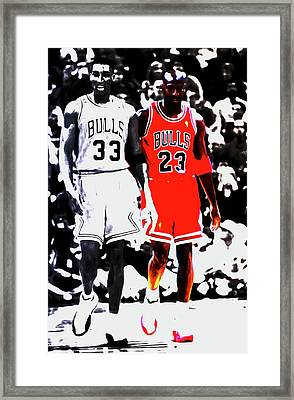 Scottie Pippen And Michael Jordan Framed Print by Brian Reaves