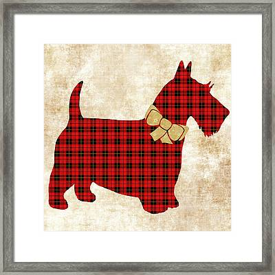 Framed Print featuring the mixed media Scottie Dog Plaid by Christina Rollo