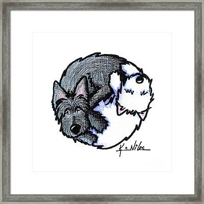 Scottie Westie Yin Yang Framed Print by Kim Niles