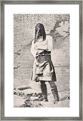 Scottish Soldier Wearing Gas Mask In Framed Print