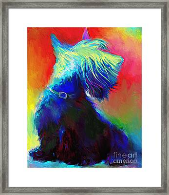 Scottish Terrier Dog Painting Framed Print by Svetlana Novikova
