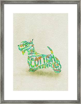 Scottish Terrier Dog Watercolor Painting / Typographic Art Framed Print