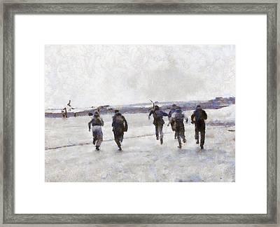 Scramble The Battle Of Britain 1940 Pilots Seen Running To Their Aircraft. Framed Print