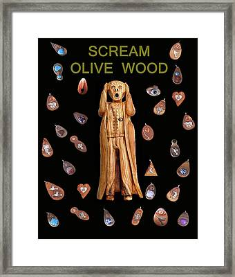 Scream Olive Wood Framed Print by Eric Kempson