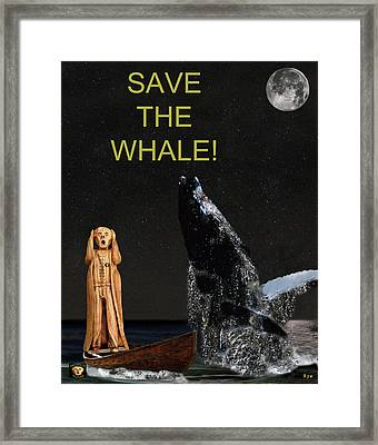 Scream With Humpback Save The Whale Framed Print by Eric Kempson