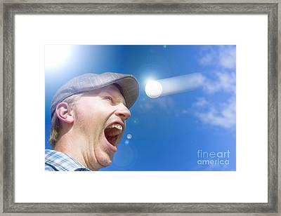 Screaming Golfer Framed Print