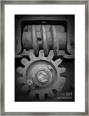 Screw And Gear Bw Framed Print