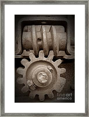 Screw And Gear Sepia Framed Print