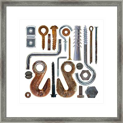 Screws, Nut Bolts, Nails And Hooks Framed Print
