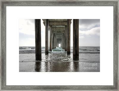 Scripps Pier Framed Print by Eddie Yerkish