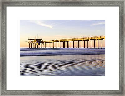 Scripps Pier La Jolla - Golden Glow In Winter Framed Print