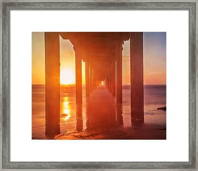 Scripps Pier Sunset Framed Print by Elena E Giorgi