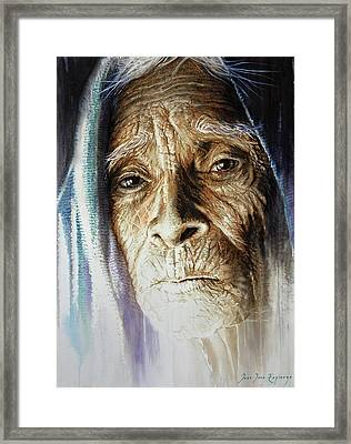 Framed Print featuring the painting Scripts Of Ancestral Light  by J- J- Espinoza