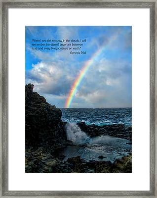 Scripture And Picture Genesis 9 16 Framed Print