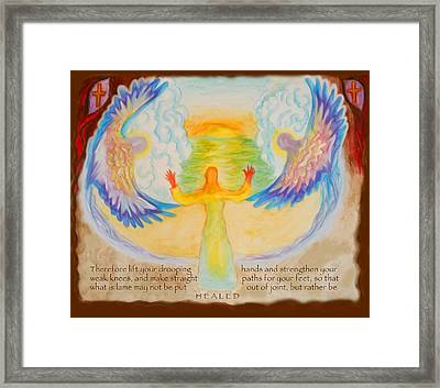 Scripture Illus. Hebrews Lift Your Drooping Hands Framed Print