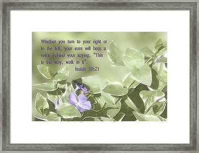 Scripture In Pastle Floral Framed Print by Linda Phelps