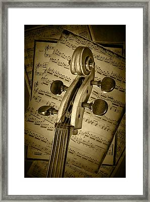 Scroll Of A Cello Stringed Instrument In Sepia Framed Print