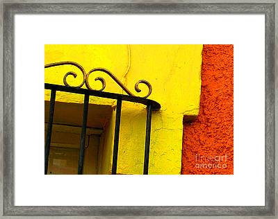 Scroll On Yellow By Michael Fitzpatrick Framed Print by Mexicolors Art Photography