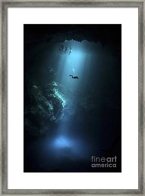 Scuba Diver Descends Into The Pit Framed Print by Karen Doody