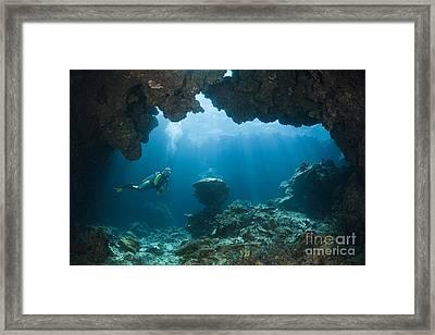 Scuba Diver In Cave Framed Print