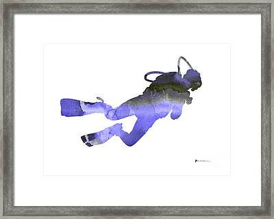 Scuba Diver Watercolor Silhouette Framed Print
