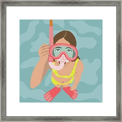 Scuba Girl Framed Print