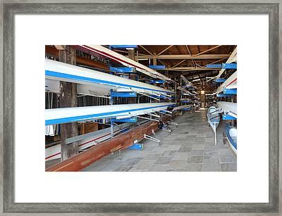 Sculling Shells On Racks Framed Print by Noam Armonn