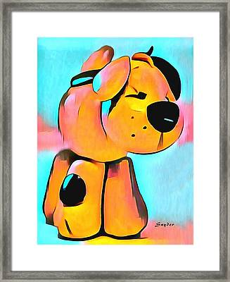 Sculpey Dog Fido  Framed Print by Barbara Snyder