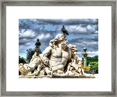 Sculptur And Birds Paris  Framed Print