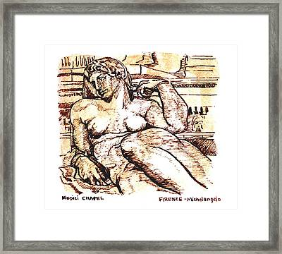 Sculpture At The Medici Chapel Framed Print by Dan Earle