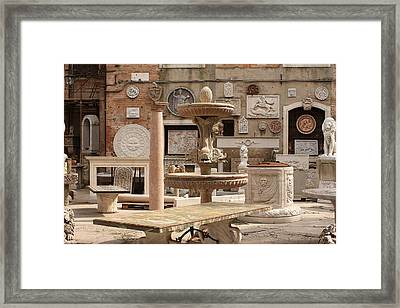 Sculpture Garden In Venice Framed Print by Michael Henderson