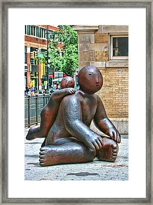 Sculpture - One Leaning On Another Framed Print