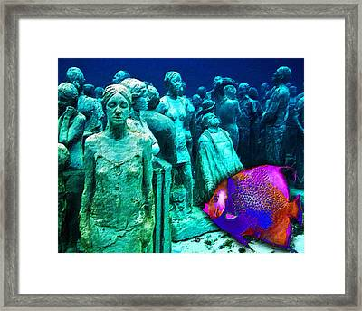 Sculpture Underwater With Bright Fish Painting Musa Framed Print by Tony Rubino