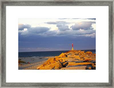 Framed Print featuring the photograph Scussett Beach Sunset by Greg DeBeck