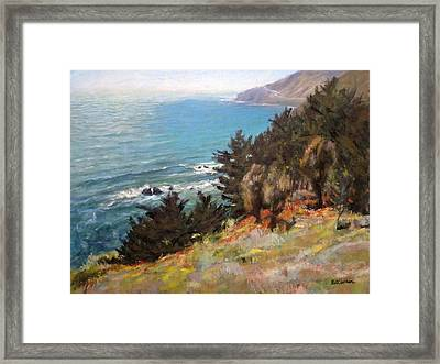 Sea And Pines Near Ragged Point, California Framed Print by Peter Salwen